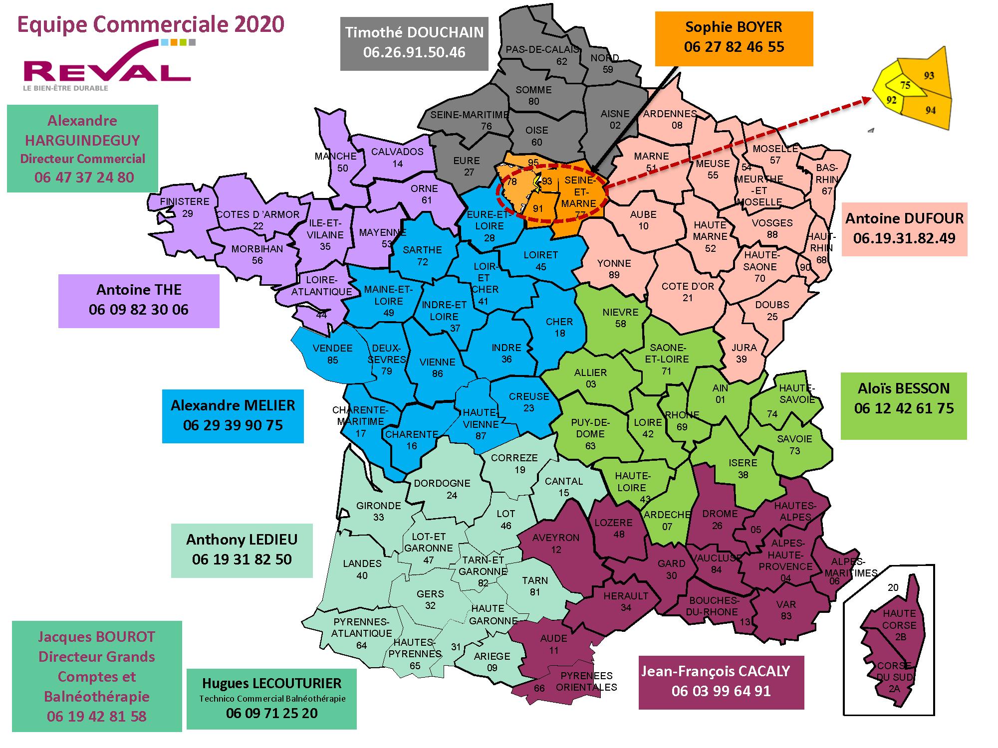 Carte des secteurs commerciaux France Reval